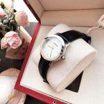 Versace Acorn Mặt Tròn Khảm Trai Dây Da Màu Đen VQA050017