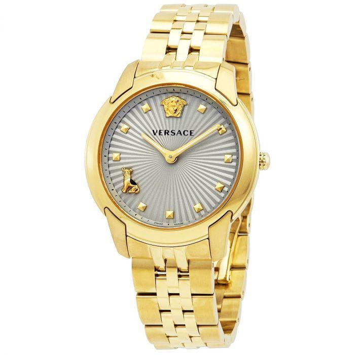 Versace Audrey Mặt Tròn Màu Xám Dây Kim Loại Màu Vàng VELR00719