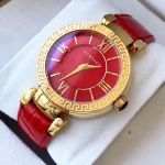 Versace Leda Mặt Tròn Dây Da Màu Đỏ VNC190017