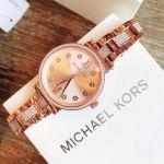 Michael Kors Sofie Crystal Mặt Tròn Đính Dá Dây Kim Loại Vàng Hồng MK3882