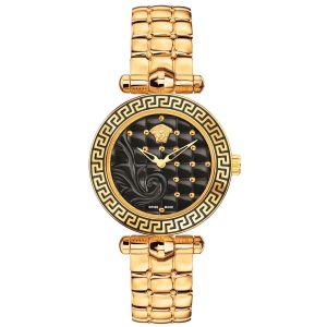 Versace Vanitas Micro Mặt Tròn Màu Đen Dây Kim Loại Màu Vàng Hồng VQM050015