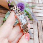 Bulova Diamond Demi Vàng Hồng Mặt Chữ Nhật Màu Trắng Dây Kim Loại 98R186