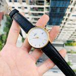 Orient Classic Automatic Mặt Tròn Màu Trắng Viền Vàng Dây Da Màu Đen Lịch Ngày RA-AC0E03S