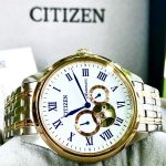 Citizen Automatic Open Heart Demi Vàng Mặt Tròn Dây Kim Loại NP1026-86A