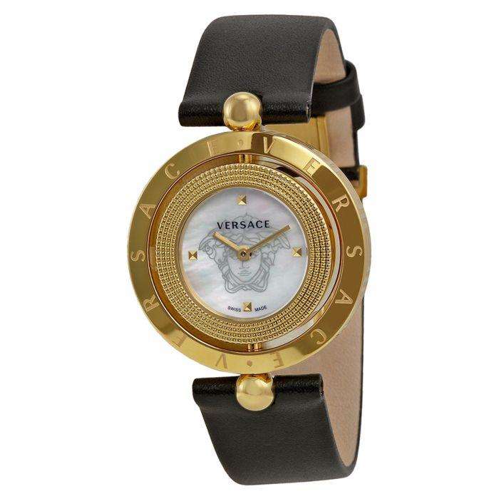 Versace Eon Mặt Tròn Xoay Viền Vàng Dây Da Màu Đen V79020014