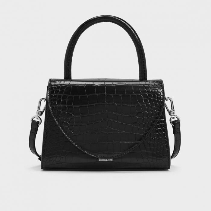 Charles & Keith Croc-Effect Structured Màu Đen CK2-50270302