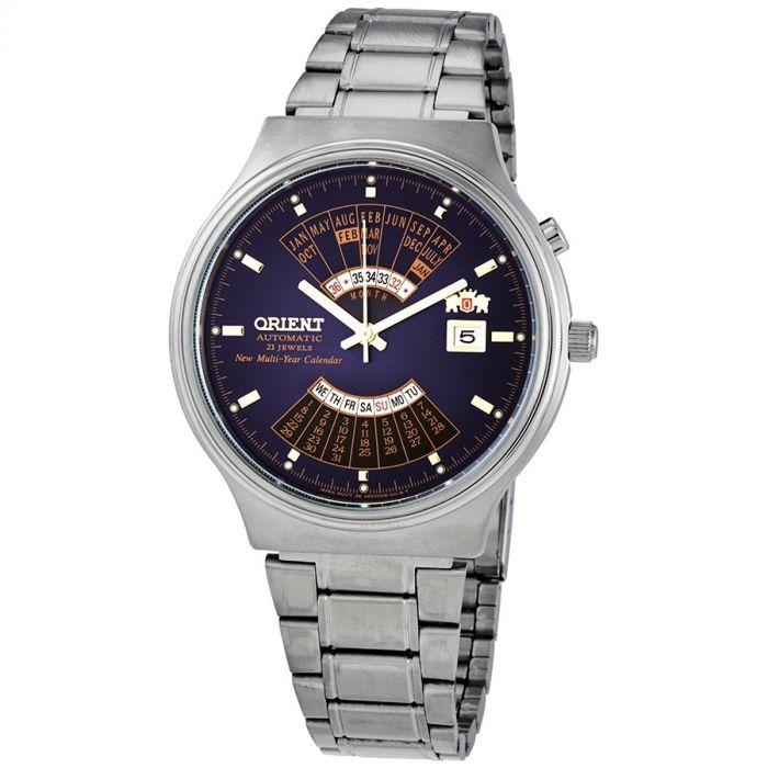 Orient Perpetual Automatic Vạn Niên Mặt Tròn Màu Xanh Dây Kim Loại Màu Ba FEU00002DW