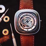 Sevenfriday P-Series Revolution Automatic Mặt Vuông Màu Xám Dây Da Màu Nâu P2B/01