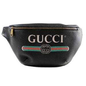 Gucci Bumbag Print Màu Đen Dây Đỏ Pha Xanh 530412 0GCCT