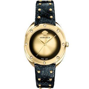 Versace Shadov Mặt Tròn Màu Vàng Dây Da Màu Xanh Đinh Tán VEBM01018
