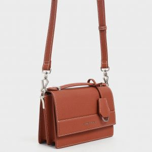 Charles & Keith Front Handle Màu Cam Gạch CK2-51190005-2