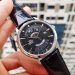 Orient Multi Year Calendar Automatic Mặt Tròn Viền Bạc Dây Da Màu Đen Lịch Vạn Niên EU0A004B