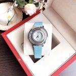 Versace Topaz Mặt Tròn Dây Da Màu Xanh VFH020013