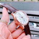Frederique Constant Runabout Chronograph Automatic Mặt Tròn Màu Bạc Viền Vàng Hồng Dây Da Màu Nâu Lịch Ngày FC-392MV5B4