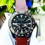 Citizen PRT Mặt Tròn Màu Đen Dây Da Màu Nâu Lịch Ngày AW7045-09E