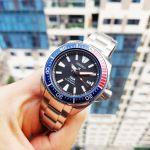 Seiko Samurai Pepsi Automatic Dive Mặt Tròn Màu Xanh Dây Kim Loại Màu Bạc Lịch Ngày SRPB99