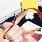 Fendi Chameleon Mặt Bầu Dục Dây Da Màu Đỏ F307434073D1