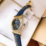 Versace V-Motif Mặt Tròn Viền Vàng Dây Da Màu Xanh VERE00218
