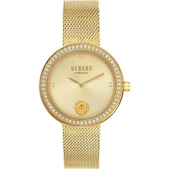 Versus by Versace Lea Mặt Tròn Viền Đính Đá Dây Kim Loại Màu Vàng VSPEN0819