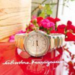 Salvatore Ferragamo F-80 Demi Vàng Hồng Mặt Tròn Dây Kim Loại FIG040015