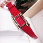 Versace Greca Icon Mặt Chữ Nhật Viền Vàng Dây Da Màu Đỏ VELU00319