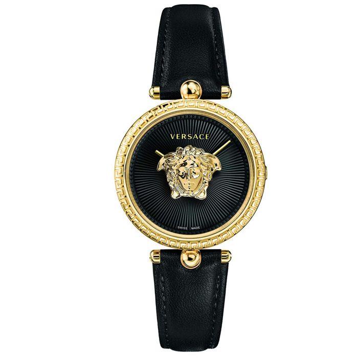 Versace Palazzo Empire Mặt Tròn Viền Vàng Dây Da Màu Đen VECQ00118