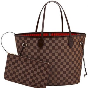 Louis Vuitton Neverfull MM Damier Màu Nâu Lòng Đỏ Kèm Zip Pouch N41358