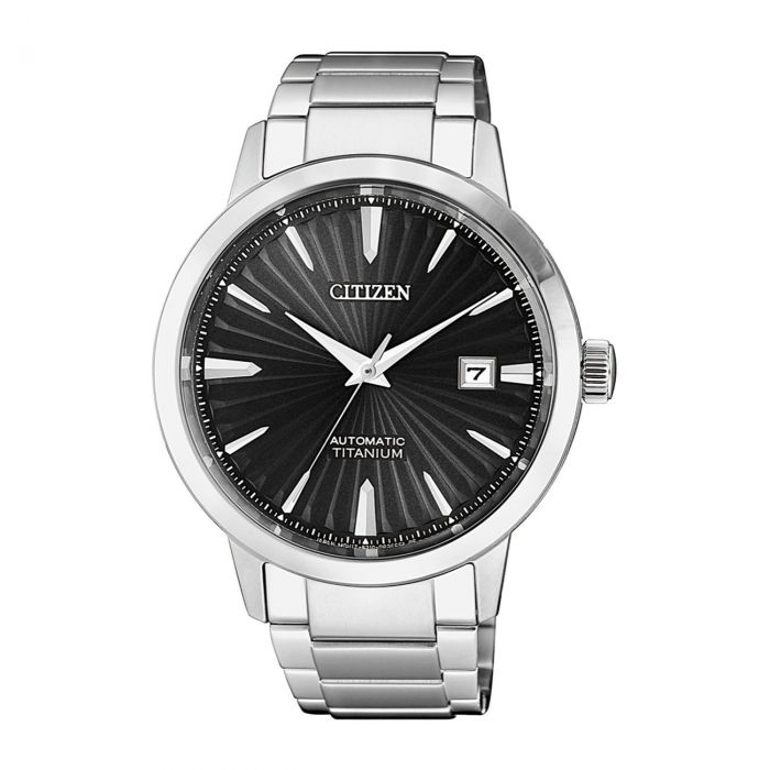 Citizen Titanium Automatic Mặt Tròn Màu Đen Dây Kim Loại Màu Bạc Lịch Ngày NJ2180 - 89H