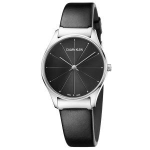 Calvin Klein Classic Mặt Tròn Viền Bạc Dây Da Màu Đen K4D221CY