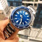 Seiko Samurai Dive Save The Ocean Automatic Mặt Tròn Màu Xanh Dây Kim Loại Màu Bạc SRPD23
