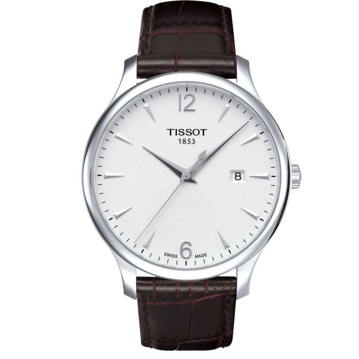 Tissot T-Classic Tradition Mặt Tròn Màu Bạc Dây Da Màu Nâu Lịch Ngày T063.610.16.037.00