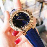 Versace Daphnis Mặt Tròn Viền Vàng Dây Da Màu Xanh V16040017