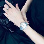 Versace Thea Diamond Mặt Tròn Khảm Trai Dây Da Màu Xanh VA7100014