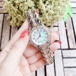 Bulova Crystal Demi Vàng Mặt Tròn Khảm Trai Dây Kim Loại Đính Đá 98L135