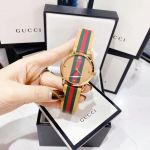 Gucci G-Timeless Mặt Tròn Dây Da Kẻ Sọc Nâu Xanh Đỏ YA1264077