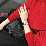 Salvatore Ferragamo Cuore Diamond Mặt Tròn Màu Kem Dây Da Màu Đỏ FE2030016