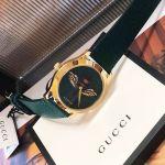 Gucci G-Timeless Emerald Mặt Tròn Họa Tiết Con Ong Dây Da Màu Xanh YA1264065