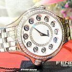 Fendi Crazy Carats Diamond Mặt Tròn Đá Xoay Ngũ Sắc Dây Kim Loại Màu Bạc F107034000B2T05