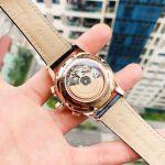 Frederique Constant Yacht Timer Regatta Countdown Automatic Mặt Tròn Viền Vàng Hồng Dây Da Màu Xanh FC-380NT4H4