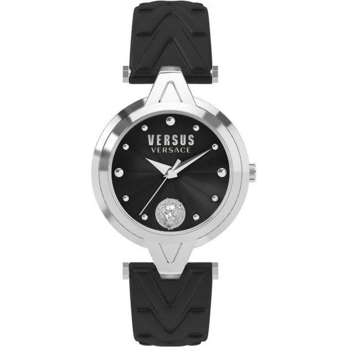 Versus by Versace V Versus Mặt Tròn Viền Bạc Dây Da Màu Đen SCI200017