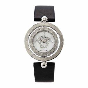Versace Eon Mặt Tròn Khảm Trai 2 Vòng Xoay Dây Da Màu Đen V79010014