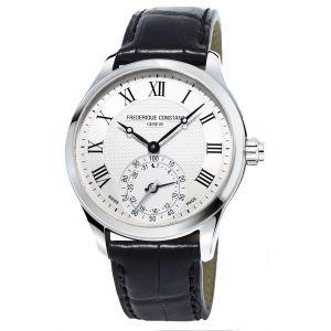 Frederique Constant Horological Smartwatch Mặt Tròn Màu Bạc Dây Da Màu Đen Lịch Ngày FC-285MC5B6