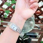 Citizen Silhouette Crystal Mặt Chữ Nhật Màu Trắng Dây Kim Loại Màu Bạc EX1470-51A