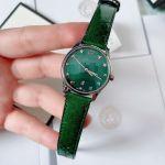 Gucci G-Timeless Mặt Tròn Khảm Trai Dây Da Màu Xanh Lịch Ngày YA126585