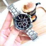 Seiko Chronograph Mặt Đen Dây Kim Loại Màu Bạc SKS605P1