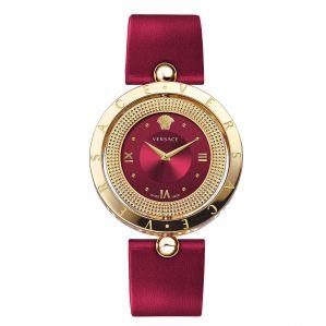 Versace Eon Mặt Vàng Xoay Dây Da Đỏ  VE7900320