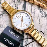 Citizen Chandler Mặt Tròn Màu Bạc Dây Kim Loại Màu Vàng Lịch Ngày FE6102-53A
