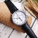 Citizen Chronograph Mặt Tròn Màu Trắng Dây Da Màu Đen Lịch Ngày AN3610-12A