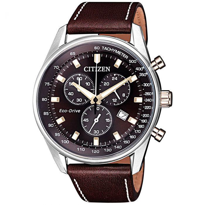 Citizen Chronograph Mặt Tròn Màu Đen Dây Da Màu Nâu Lịch Ngày AT2396-19X