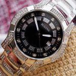 Bulova Crystal Black Mặt Đen Dây Đính Đá Màu Bạc 96B176